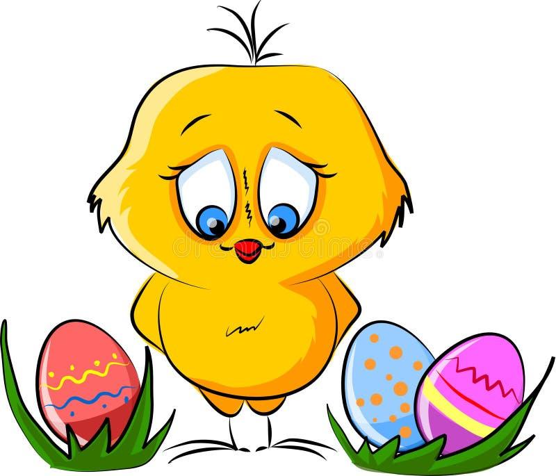 Gelukkige Pasen, beeldverhaalkaart vector illustratie