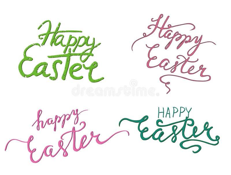 Gelukkige Pasen-dag eenvoudige het van letters voorzien reeks vector illustratie