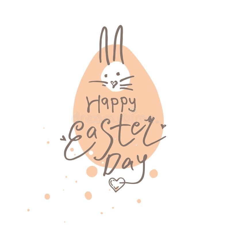 Gelukkige Pasen-Dag grappige gevoelige illustratie Paashaas op het achtergrondherinneringsei royalty-vrije illustratie
