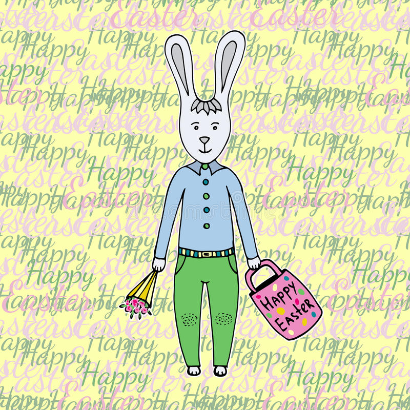 Gelukkige Pasen-dag! Groetkaart met leuk Pasen-Konijntje Gelukkige Pasen vector illustratie