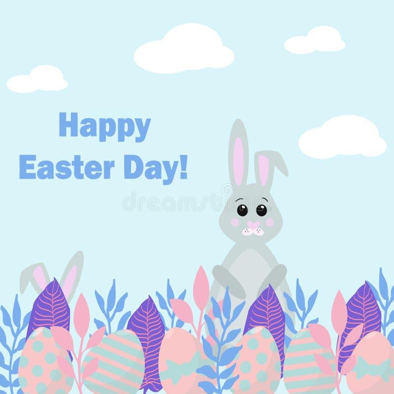 Gelukkige Pasen-Dagkaart De vectorillustratie van Nice met konijntjes die voor eieren jagen royalty-vrije illustratie