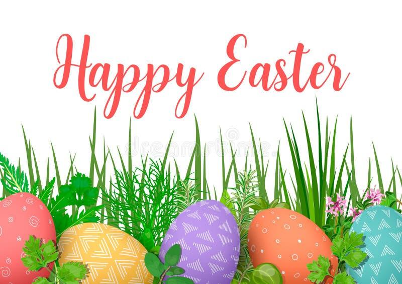 Gelukkige Pasen De kleurrijke eieren van Pasen in rij met verschillende eenvoudige ornamenten witte houten achtergrond en bloemen vector illustratie