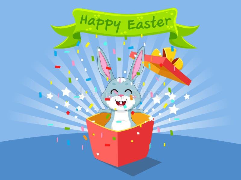 Gelukkige Pasen en leuk konijntje dat de giftdoos naar voren komt Vectorillustratie decoratief element op Pasen-Dag stock illustratie