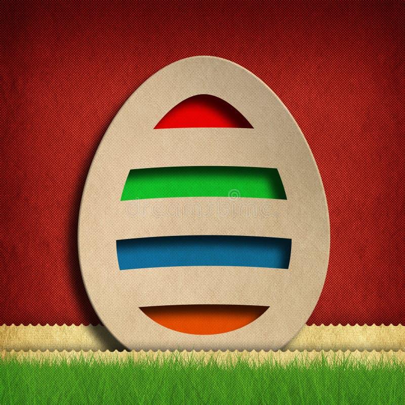 Gelukkige Pasen - gekleurd ei op rode achtergrond royalty-vrije illustratie