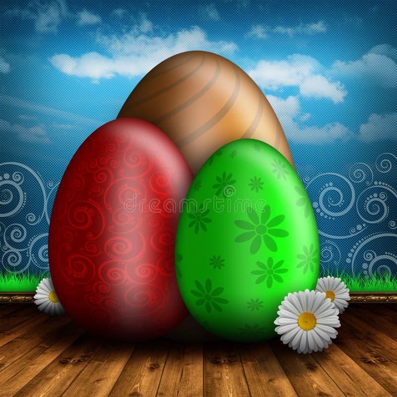 Gelukkige Pasen - Gekleurde eieren op houten vloer stock illustratie