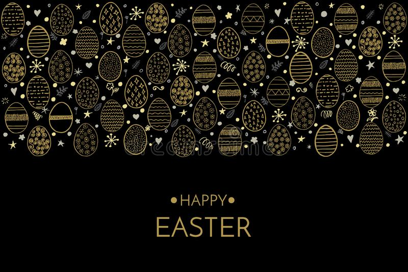 Gelukkige Pasen-Groetkaart Gelukkige de uitdrukking en de handtekeningseieren van Pasen gouden die, sterren, bloemen en cirkels o royalty-vrije illustratie