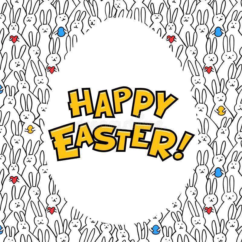 Gelukkige Pasen-Groetkaart Ei met gelukkige Pasen-iscription op konijntjespatroon bakground Vector illustratie vector illustratie