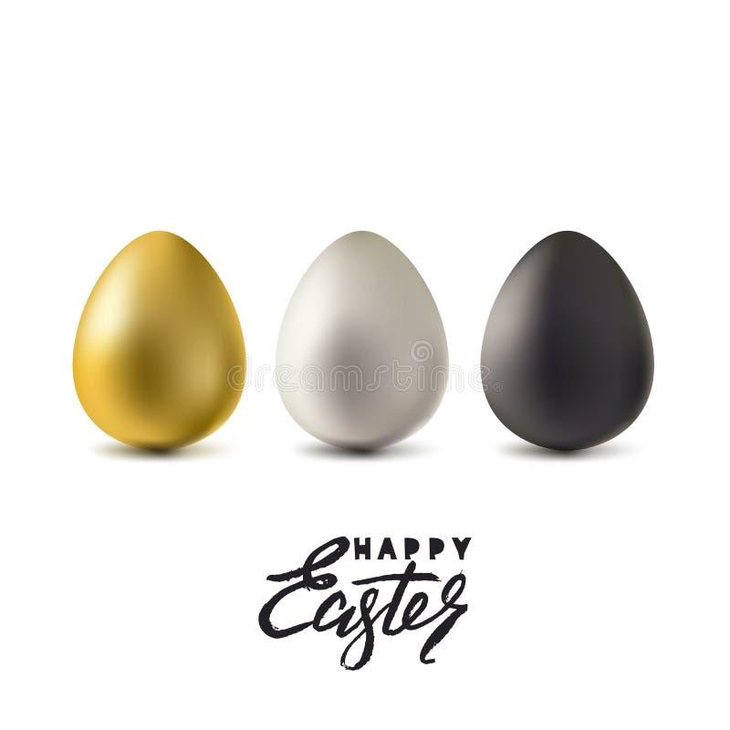 Gelukkige Pasen-Groetkaart Gouden, zilveren en zwarte die 3d paaseieren op witte achtergrond worden geïsoleerd Vector illustratie stock illustratie