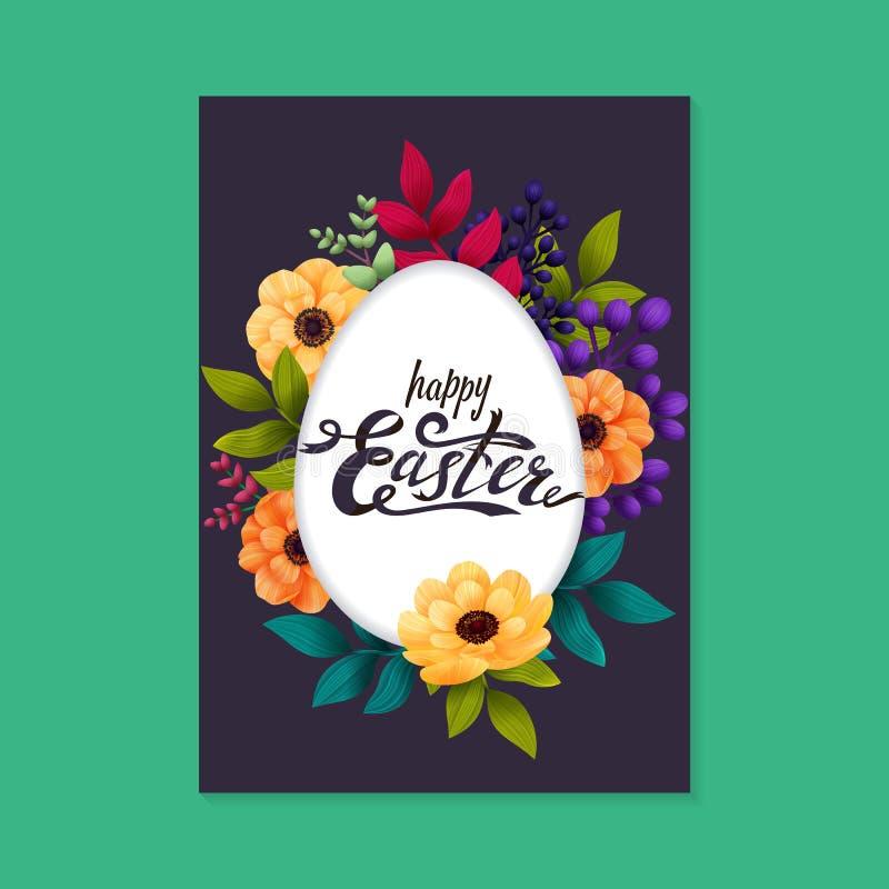 Gelukkige Pasen-Groetkaart Het kalligrafische van letters voorzien op wit eikader en kleurrijke exotische bloemen donkere achterg stock illustratie