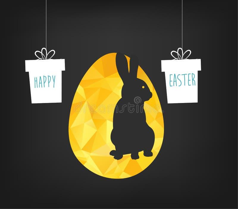 Gelukkige Pasen-groetkaart in lage polydriehoeksstijl Vlakke ontwerpveelhoek van gouden paasei en konijntje op zwarte backgr stock illustratie