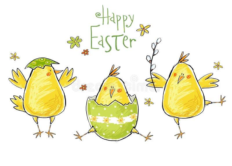 Gelukkige Pasen-Groetkaart Leuke kip met tekst in modieuze kleuren Van het de lentebeeldverhaal van de conceptenvakantie de groet royalty-vrije illustratie
