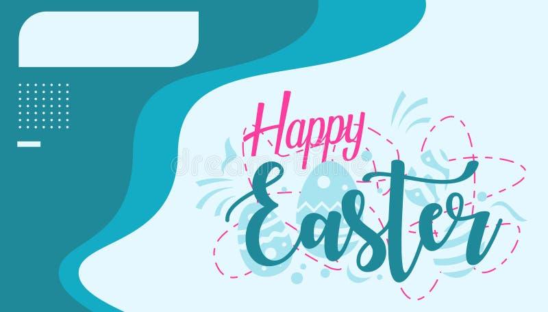 Gelukkige Pasen-Groetkaart met Doosnaam en Blauwe Kleur royalty-vrije illustratie