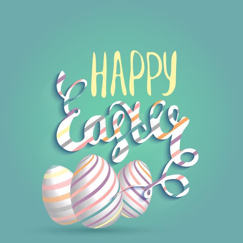 Gelukkige Pasen-groetkaart met Eieren en het Van letters voorzien Vectorconcept voor websites en gedrukte materialen in beeldverh royalty-vrije illustratie