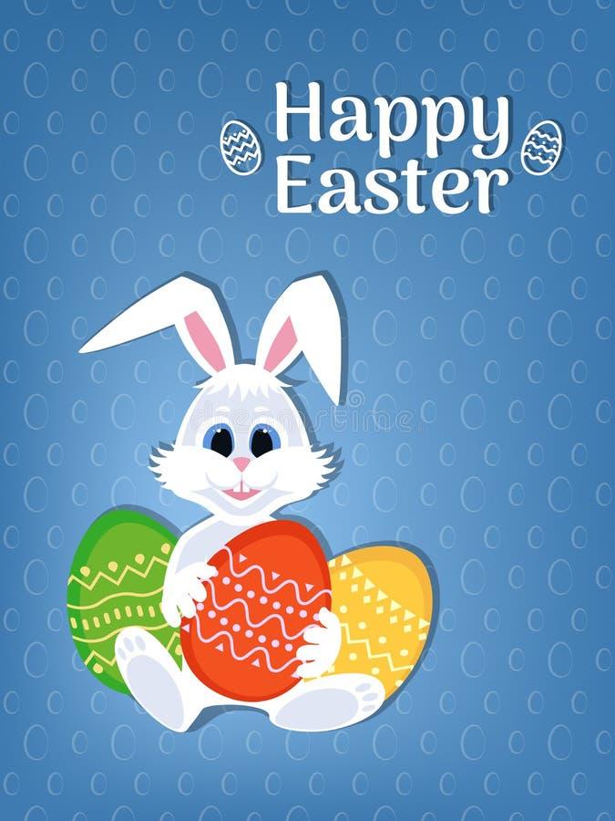 Gelukkige Pasen-groetkaart met eieren en konijn Wit leuk Konijntje met kleurrijk eieren en Pasen-embleem stock illustratie