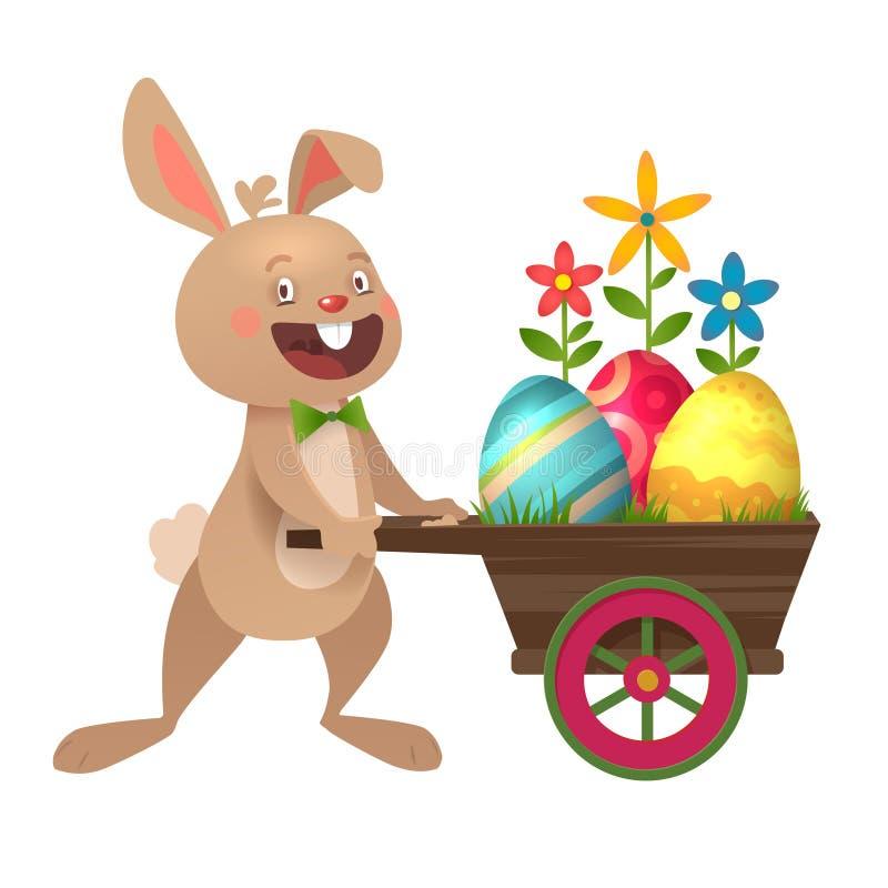 Gelukkige Pasen-groetkaart met eieren en Konijntje Grijze leuke Paashaas met kleurrijke eieren Vector illustratie stock illustratie