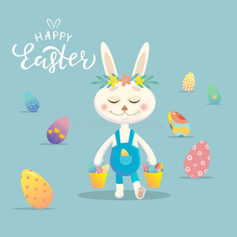 Gelukkige Pasen-Groetkaart Paashaas met kleurrijke eieren Vectorontwerp voor vakantieuitnodiging, banner, kaart, affiche royalty-vrije illustratie