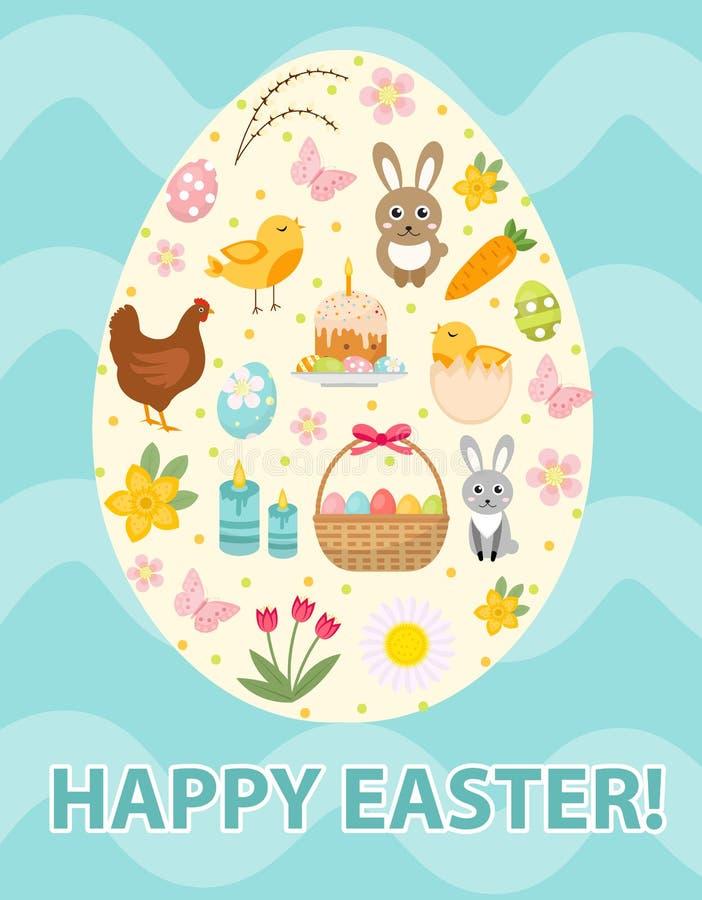 Gelukkige Pasen-groetkaart, vlieger, affiche met vastgestelde pictogrammen, symbolen van Pasen De lente leuk malplaatje voor uw o vector illustratie