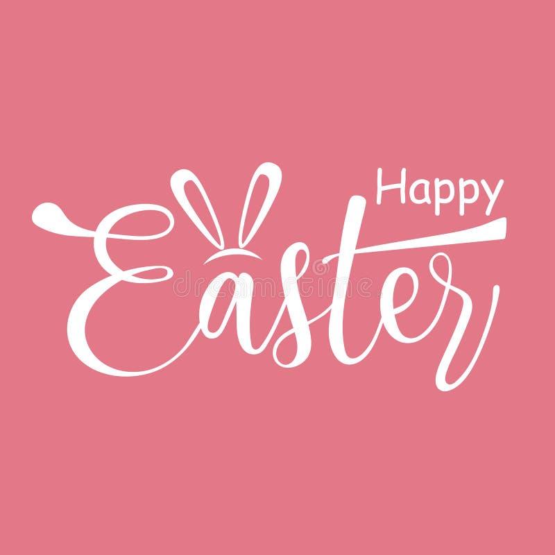 Gelukkige Pasen Hand het getrokken van letters voorzien Witte tekst op roze achtergrond Vector illustratie royalty-vrije stock afbeeldingen