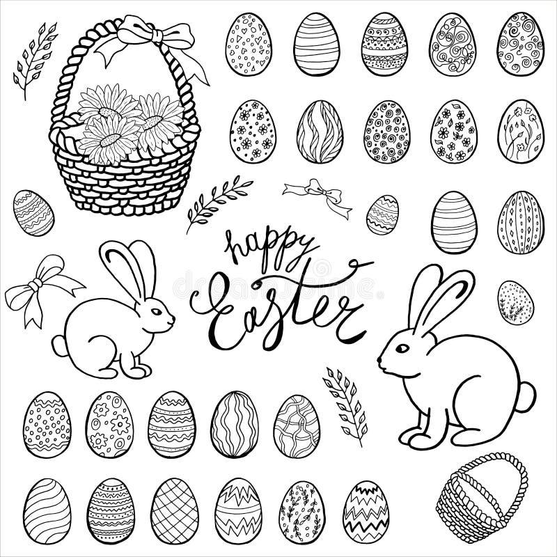 Gelukkige Pasen heeft inzameling, hand getrokken reeks, vector bezwaar vector illustratie