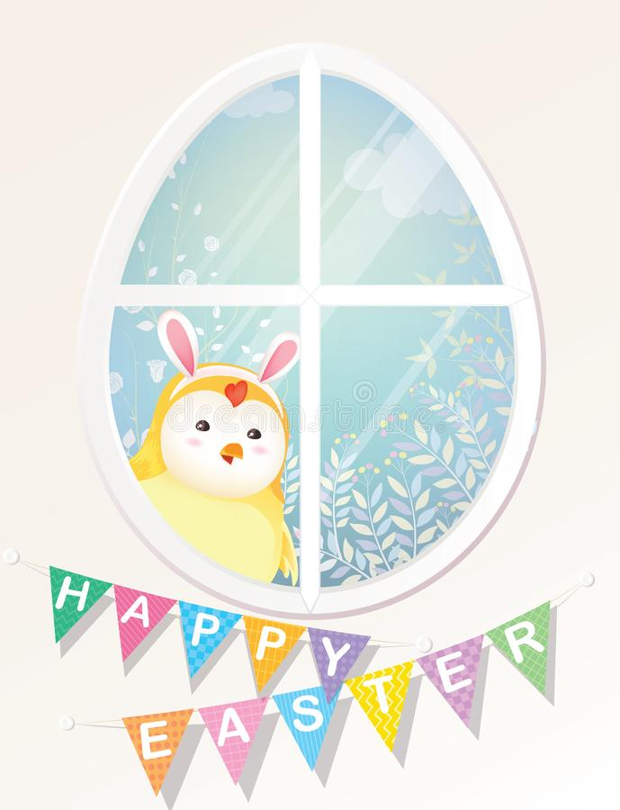 Gelukkige Pasen! Het leuke Kuiken kijkt door de ovaleggvorm vector illustratie