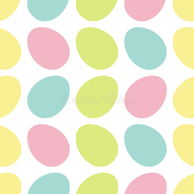 Gelukkige Pasen-het schilderen ei Geschilderde shell reeks Het lichte Verpakkende document van het Kleuren Naadloze Patroon, text stock illustratie
