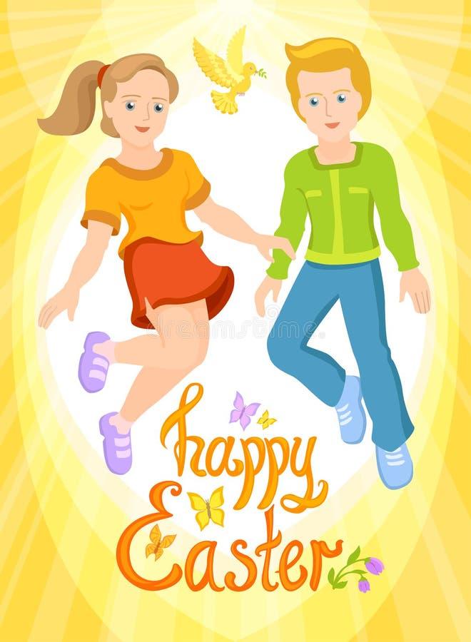 Gelukkige Pasen - jongen en meisje, zonnige prentbriefkaar vector illustratie