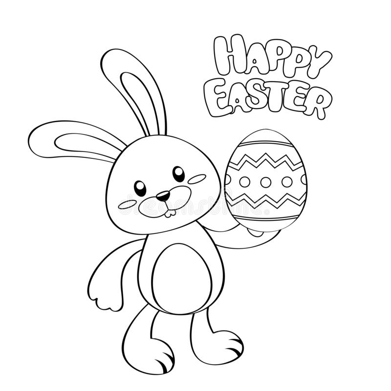 Gelukkige Pasen kaart Leuke beeldverhaalpaashaas met ei Zwart-witte illustratie voor het kleuren van boek vector illustratie