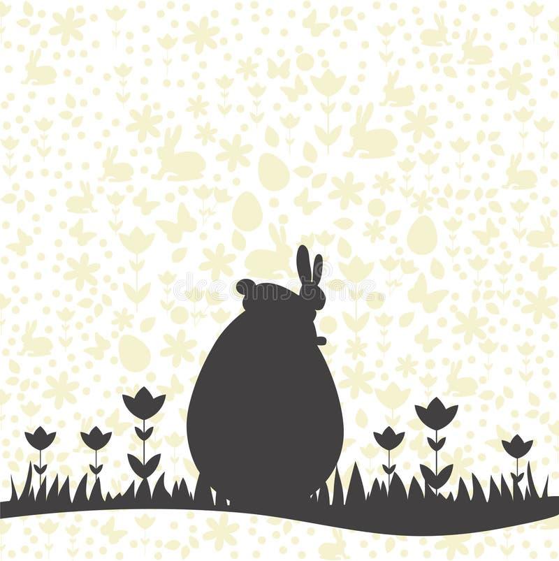 Gelukkige Pasen-kaart met achtergrondpatroon en konijntje op eisilhouet royalty-vrije illustratie