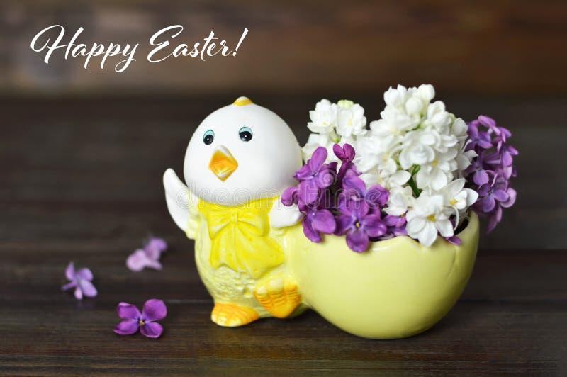 Gelukkige Pasen-Kaart met de Lentebloemen royalty-vrije stock afbeelding