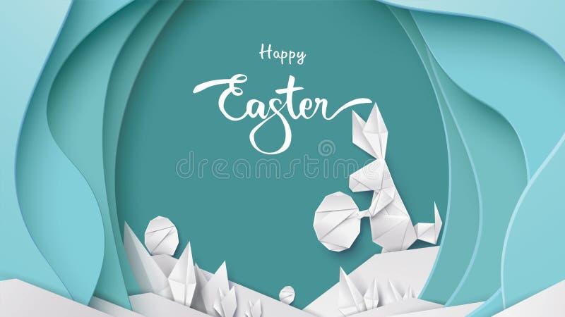 Gelukkige Pasen-kaart met de vorm van het konijntjeskonijn, eieren op kleurrijke moderne pastelkleurachtergrond Exemplaarruimte v vector illustratie