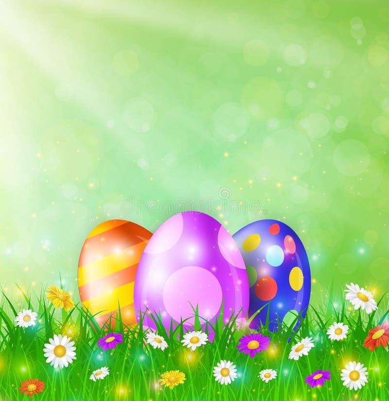 Gelukkige Pasen-Kaart met Eieren, Gras, Bloemen vector illustratie