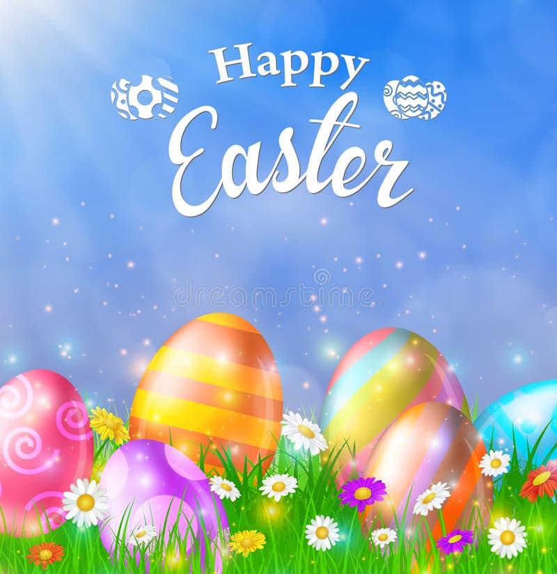 Gelukkige Pasen-Kaart met Eieren, Gras, Bloemen royalty-vrije illustratie