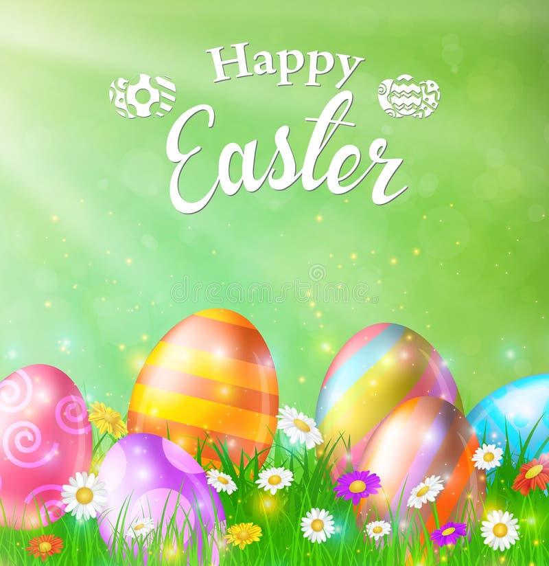 Gelukkige Pasen-Kaart met Eieren, Gras, Bloemen stock illustratie