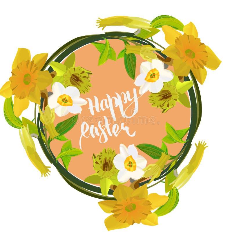 Gelukkige Pasen-kaart met gele narcissen stock illustratie