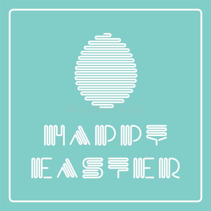Gelukkige Pasen-kaart met gestreept modieus doopvont en ei Creatief vakantiekader vector illustratie