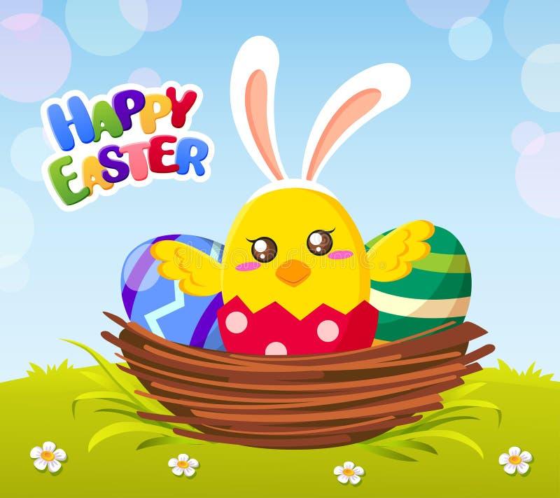 Gelukkige Pasen-kaart met Pasen-kuiken in konijntjesoren en eieren royalty-vrije illustratie
