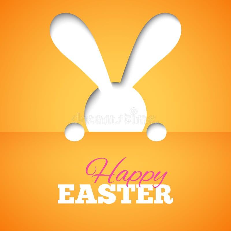 Gelukkige Pasen-kaart met verbergend konijntje en doopvont op oranje document achtergrond royalty-vrije illustratie