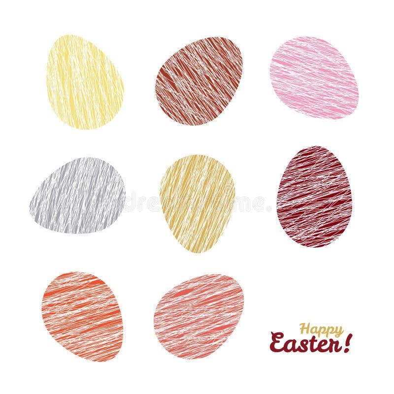 'Gelukkige Pasen!' kaart Paaseieren met Gekraste textuur vector illustratie