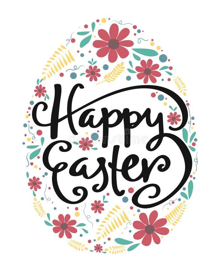 gelukkige Pasen-kalligrafie in ei met bloempatroon royalty-vrije illustratie