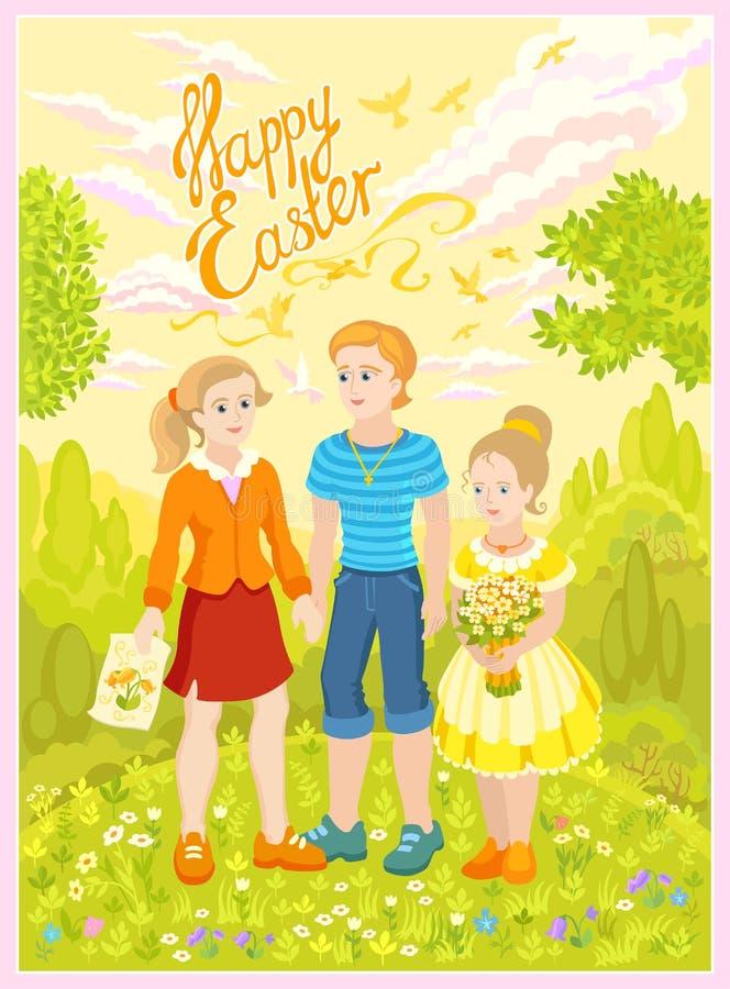 Gelukkige Pasen - kinderenvrienden vector illustratie
