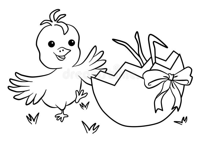 Gelukkige Pasen-kuiken en shell van ei royalty-vrije illustratie