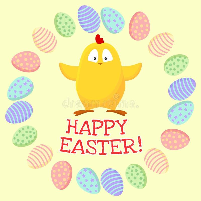 Gelukkige Pasen Leuk weinig gele kip in een kroon van paaseieren stock illustratie