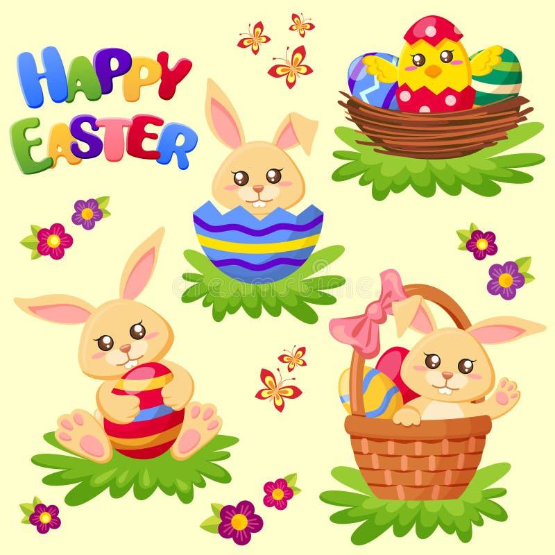 Gelukkige Pasen Leuke konijntje, kip en eieren Beeldverhaal polair met harten vector illustratie