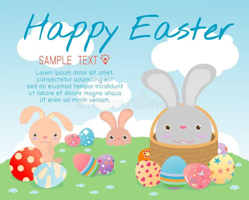 Gelukkige Pasen, leuke Pasen-konijnen met paaseieren, konijntje met kleurrijke paaseieren op gras, konijntje en paaseieren, konij stock illustratie