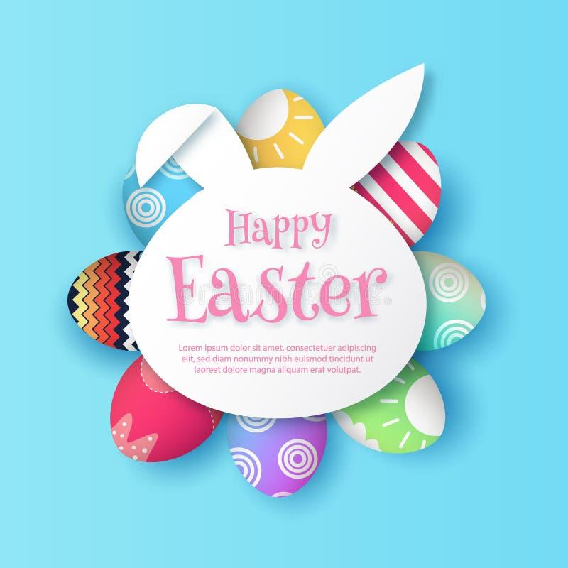 Gelukkige Pasen, met document de vormkader vectoreps 10 van het konijnkonijntje royalty-vrije illustratie