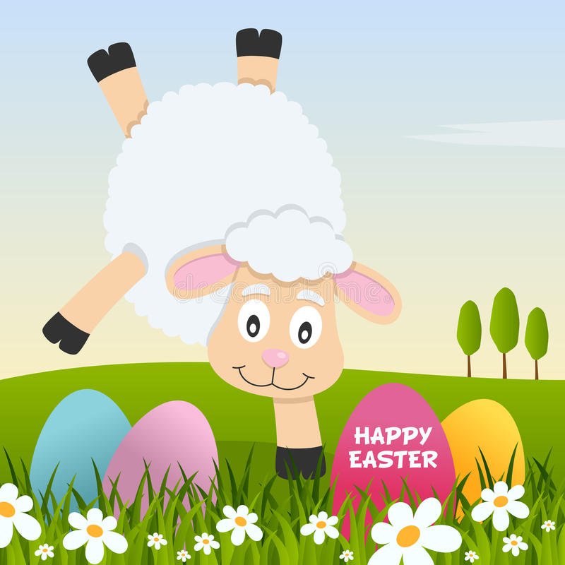 Gelukkige Pasen met Eieren en een Grappig Lam royalty-vrije illustratie