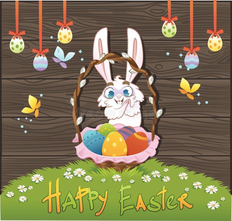 Gelukkige Pasen met eieren en konijn over houten achtergrond Vector i stock illustratie