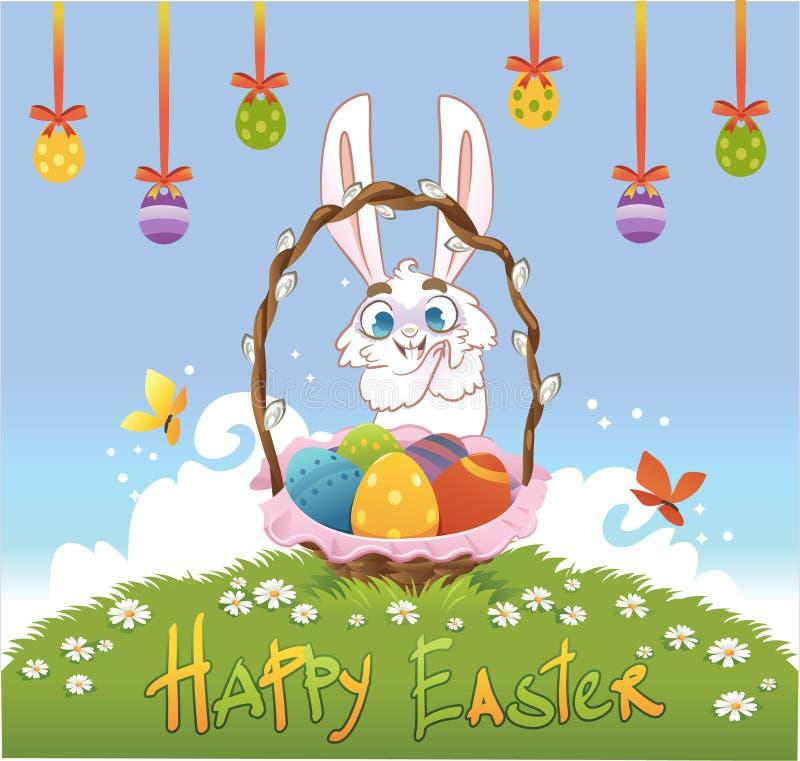Gelukkige Pasen met eieren en konijn Vector illustratie stock illustratie