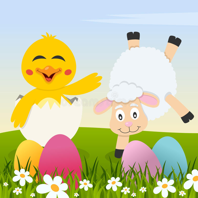 Gelukkige Pasen met Eieren, Kuiken en Lam vector illustratie