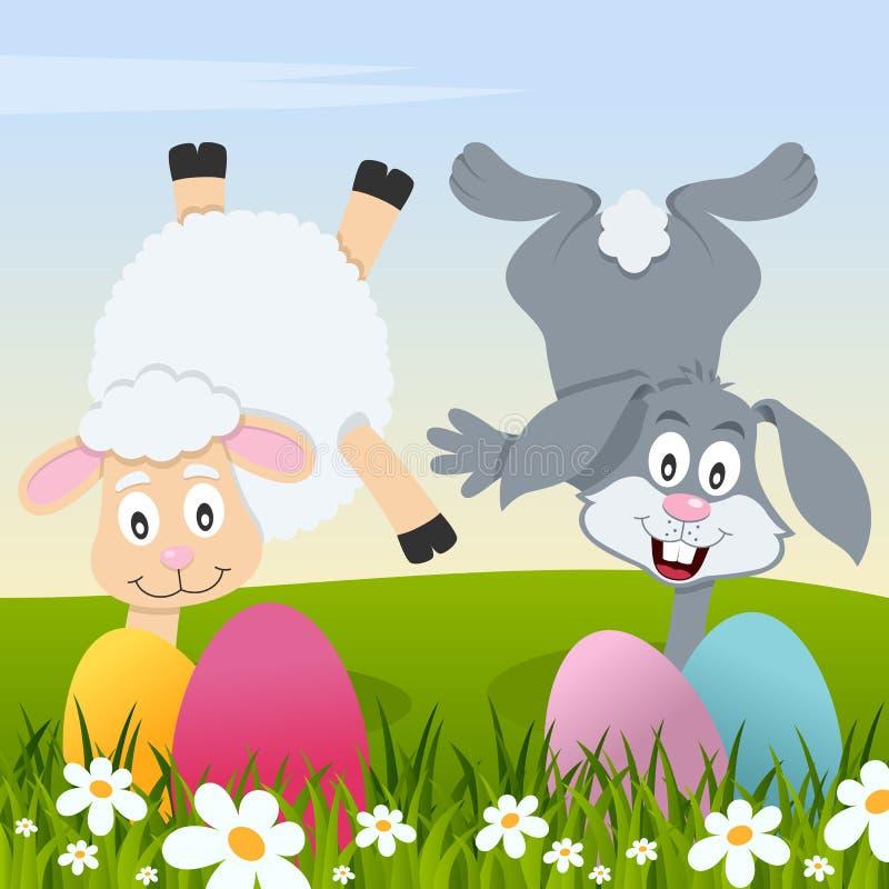 Gelukkige Pasen met Eieren, Lam en Konijn stock illustratie